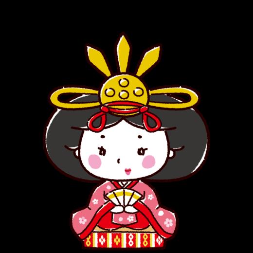 雛人形のイラスト(お雛様・女雛・ひな祭り)(4カット)
