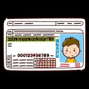 運転免許証のイラスト(若者・男性・初心者)
