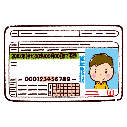 運転免許証のイラスト(若者・男性)(2カラー)