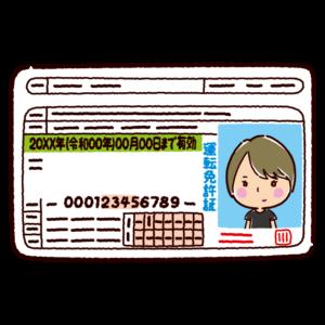 運転免許証のイラスト(若者・女性・初心者)