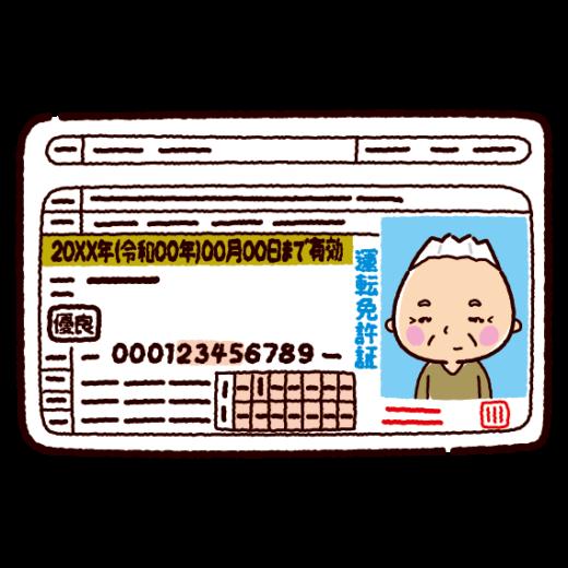運転免許証のイラスト(老人・男性)(2カラー)
