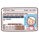 運転免許証のイラスト(老人・女性)