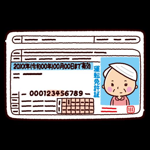 運転免許証のイラスト(老人・女性)(2カラー)