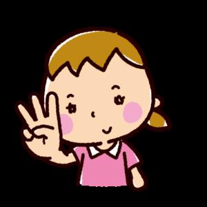 指で数を数えるイラスト(女の子・3)