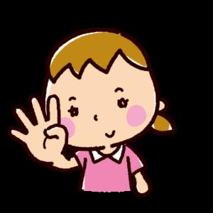 指で数を数えるイラスト(女の子・4)