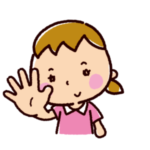 指で数を数えるイラスト(女の子・5)