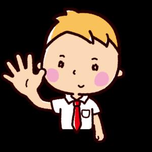 指で数を数えるイラスト(男子学生・5)