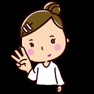 指で数を数えるイラスト(女性・3)