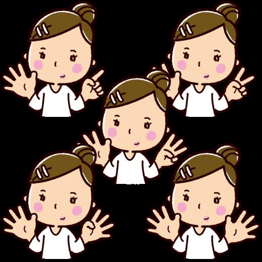 指で数を数えるイラスト(女性・6〜10)(5カット)