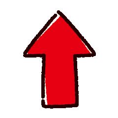 矢印のイラスト(赤)