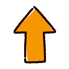 矢印のイラスト(オレンジ)