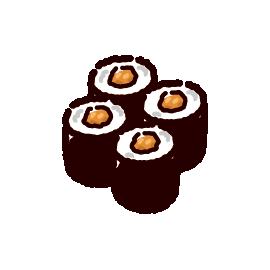 お寿司のイラスト(納豆巻き)(2カット)