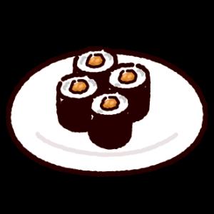 納豆巻きのイラスト(巻き寿司・皿)