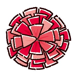 ポンポンのイラスト(赤)
