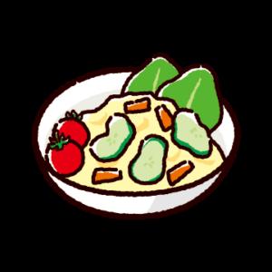 ポテトサラダのイラスト(ミニトマト)