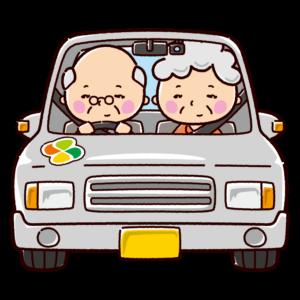 車に乗った老人のイラスト