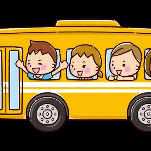 バスに乗った子供のイラスト(スクールバス)