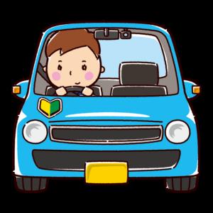 車を運転する男性のイラスト(初心者)