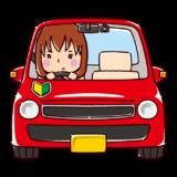 車を運転する女性のイラスト(初心者)