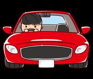 スポーツカーを運転する男性のイラスト