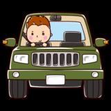 オフロードカーを運転する男性のイラスト