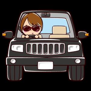 オフロードカーを運転する女性のイラスト