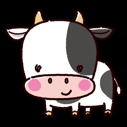 かわいいオス牛のイラスト(丑・2021年干支)(2カット)
