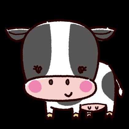 かわいいメス牛のイラスト(丑・2021年干支)(2カット)