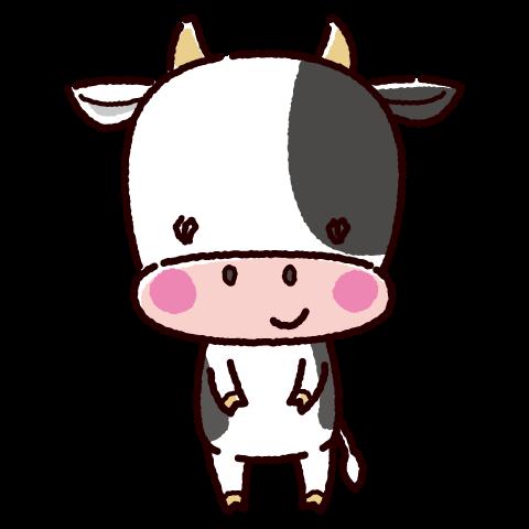 かわいい牛のキャラクターイラスト(オス・丑・2021年干支)(2カット)