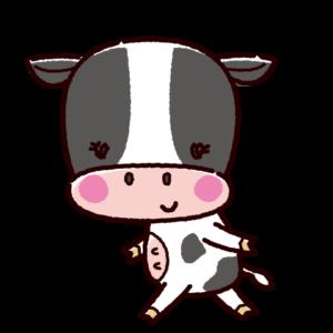 かわいい牛のキャラクターイラスト(雌・丑)