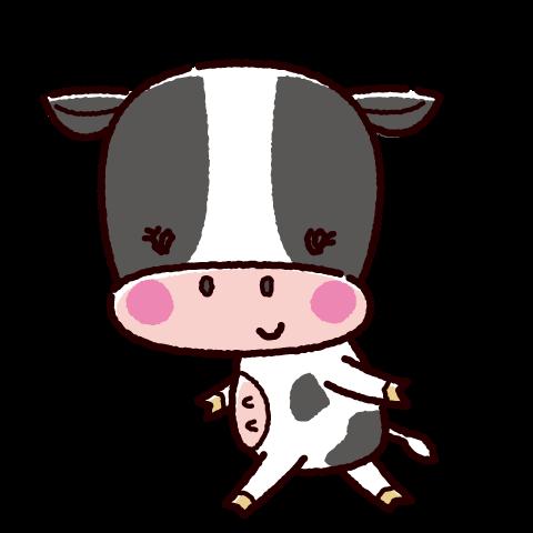 かわいい牛のキャラクターイラスト(メス・丑・2021年干支)(2カット)