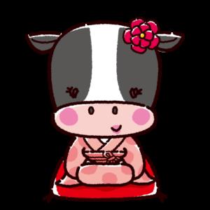 かわいい牛のキャラクターイラスト(紋付袴・着物)