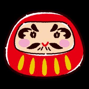 赤いダルマのイラスト