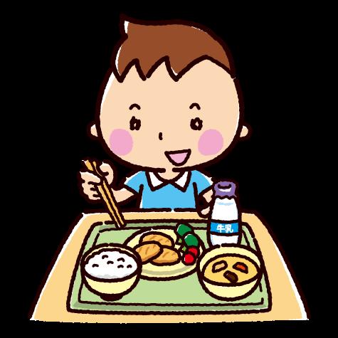 給食を食べる子供のイラスト(2カット)