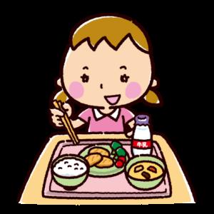 給食を食べるイラスト(女の子)