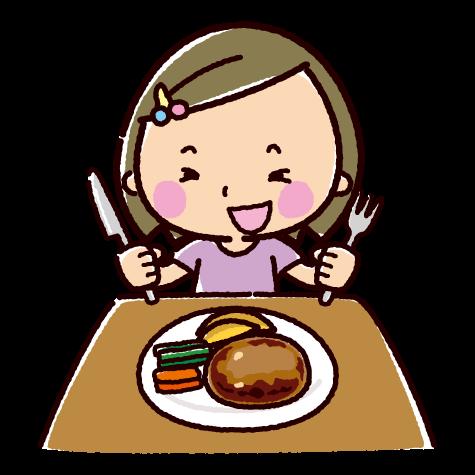 ハンバーグを食べる子供のイラスト(2カット)
