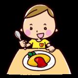 オムライスを食べるイラスト(男の子)