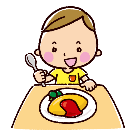 オムライスを食べる子供のイラスト(2カット)