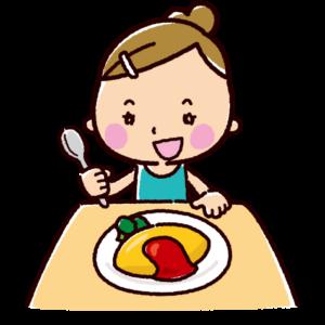 オムライスを食べるイラスト(女の子)