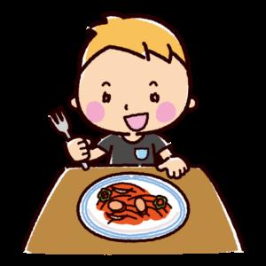 ナポリタンを食べるイラスト(男の子)