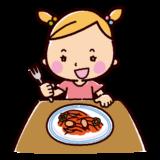ナポリタンを食べるイラスト(女の子)
