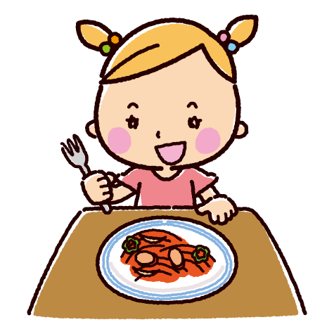 ナポリタンを食べる子供のイラスト(2カット)