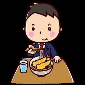 天ぷらそばを食べるイラスト(男性・サラリーマン)