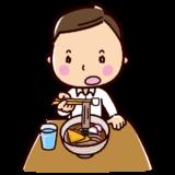 きつねそばを食べるイラスト(男性・サラリーマン)