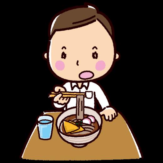 そばを食べる男性のイラスト(サラリーマン)(2カット)
