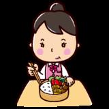 お弁当を食べるイラスト(女性・OL)