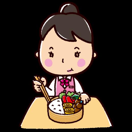 お弁当を食べる女性のイラスト(OL)(2カット)