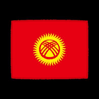 国旗のイラスト(キルギス共和国)(2カット)