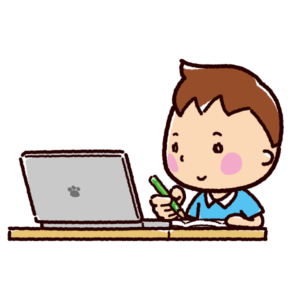 オンライン授業のイラスト(男子)