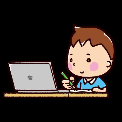 オンライン授業のイラスト(男の子)(3カット)